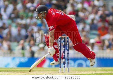 LONDON, ENGLAND - June 19 2013: England's Jonathan Trott runs a single during the ICC Champions Trophy semi final match between England and South Africa at The Oval Cricket Ground