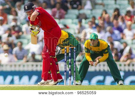 LONDON, ENGLAND - June 19 2013: England's Ian Bell batting during the ICC Champions Trophy semi final match between England and South Africa at The Oval Cricket Ground