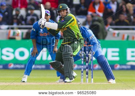 EDGBASTON, ENGLAND - June 15 2013: Pakistan's Shoaib Malik batting during the ICC Champions Trophy cricket match between India and Pakistan at Edgbaston Cricket Ground.
