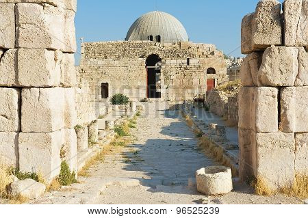 Exterior of the old Umayyad Palace at the roman citadel hill in Amman, Jordan.