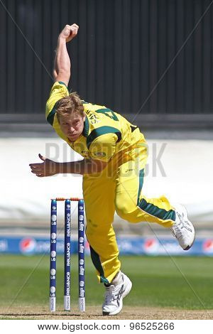 CARDIFF, WALES - June 04 2013: Australia's James Faulkner bowling during the ICC Champions Trophy warm up match between India and Australia at the Cardiff Wales Stadium
