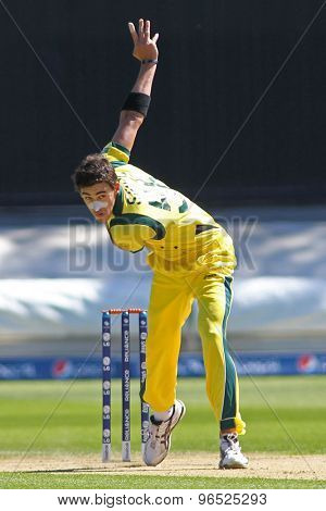 CARDIFF, WALES - June 04 2013: Australia's Mitchell Starc bowling during the ICC Champions Trophy warm up match between India and Australia at the Cardiff Wales Stadium