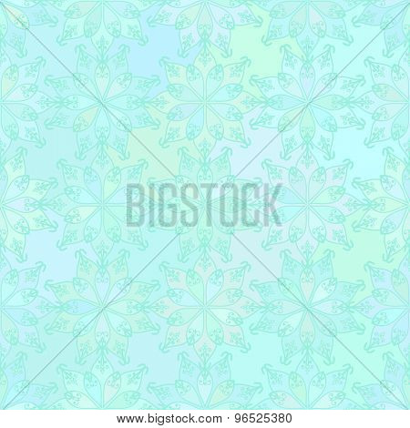 Abstract vector background Seamless oriental texture Aquamarine color