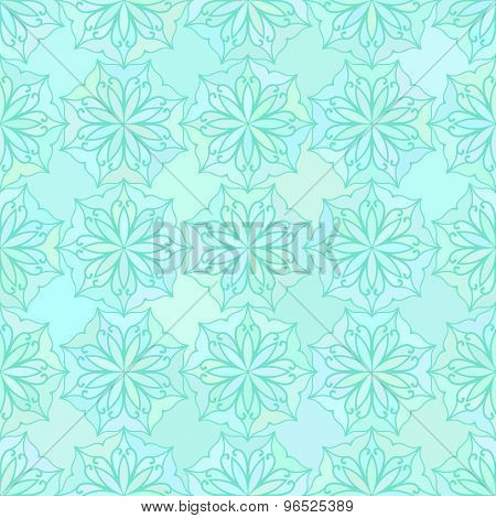 Abstract vector background Seamless floral texture Aquamarine colors