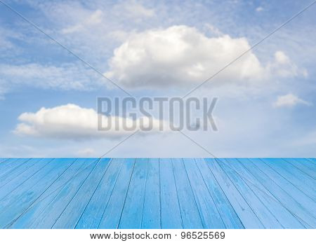 Blue Wooden Table With Sky Background