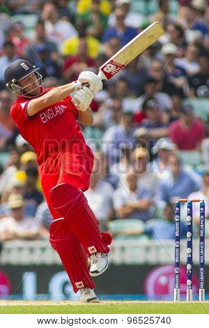 LONDON, ENGLAND - June 19 2013: England's Jonathan Trott batting during the ICC Champions Trophy semi final match between England and South Africa at The Oval Cricket Ground