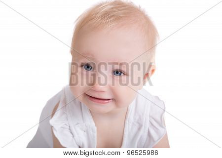 Portrait Of Little Playing Smiling Child Isolated On White Backgroung