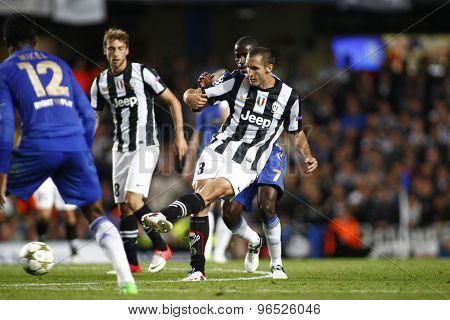 LONDON, ENGLAND. September 19 2012 Juventus's Italian defender Giorgio Chiellini kicks the ball  during the UEFA Champions League football match between Chelsea and Juventus played at Stamford Bridge