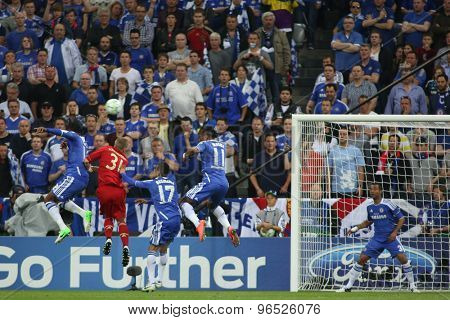 MUNICH, GERMANY May 19 2012. Chelsea defence in action during the 2012 UEFA Champions League Final at the Allianz Arena Munich contested by Chelsea and Bayern Munich