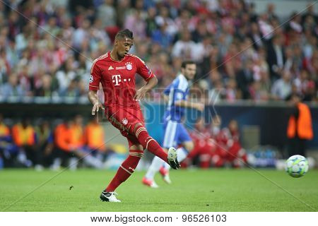 MUNICH, GERMANY May 19 2012. Bayern's German defender J���½r�¢?�¢me Boateng in action during the 2012 UEFA Champions League Final at the Allianz Arena Munich contested by Chelsea and Bayern Munich
