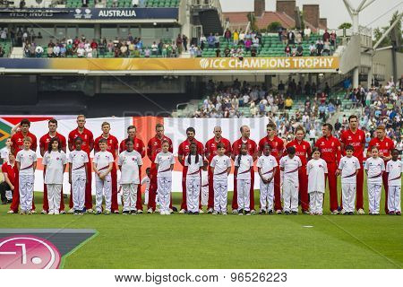 LONDON, ENGLAND - June 19 2013: England line up before the ICC Champions Trophy semi final match between England and South Africa at The Oval Cricket Ground