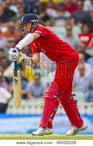 LONDON, ENGLAND - June 19 2013: England's Joe Root reacts after being hit by the ball during the ICC Champions Trophy semi final match between England and South Africa at The Oval Cricket Ground