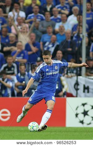 MUNICH, GERMANY May 19 2012. Chelsea's English defender Gary Cahill in action during the 2012 UEFA Champions League Final at the Allianz Arena Munich contested by Chelsea and Bayern Munich