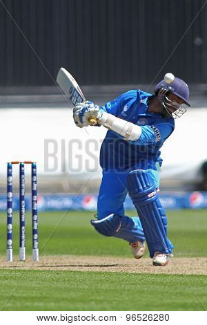 CARDIFF, WALES - June 04 2013: India's Dinesh Karthik ducks to avoid a bouncer during the ICC Champions Trophy warm up match between India and Australia at the Cardiff Wales Stadium