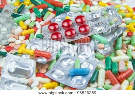 Lots Of Different Colorful Pills And Capsules