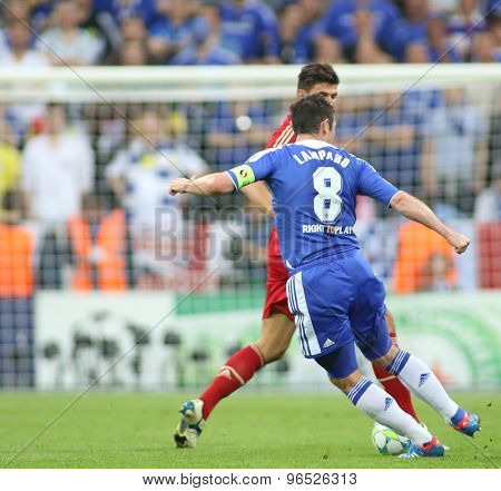 MUNICH, GERMANY May 19 2012. Chelsea's English midfielder Frank Lampard  in action during the 2012 UEFA Champions League Final at the Allianz Arena Munich contested by Chelsea and Bayern Munich
