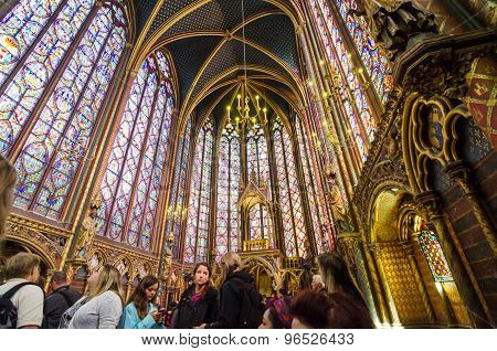 Paris, France - May 14, 2015: Tourists Visit Sainte Chapelle (holy Chapel) In Paris, France.