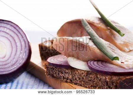 The Pieces Of Salted Herring On Rye Bread With Slices Of Red Onion Decorated Fresh Green And The Gla