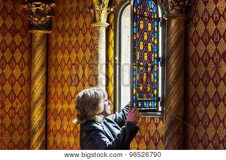 Paris, France - May 14, 2015: Tourist Visit Sainte Chapelle (holy Chapel) In Paris, France.