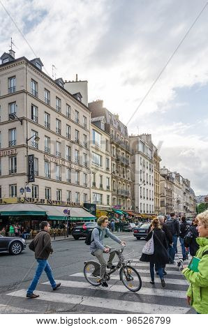Paris, France - May 14, 2015: French People In Cite Island, Paris, France.