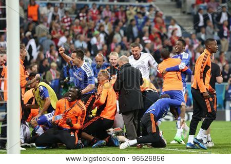 MUNICH, GERMANY May 19 2012. Chelsea players celebrate winning the 2012 UEFA Champions League Final at the Allianz Arena Munich contested by Chelsea and Bayern Munich