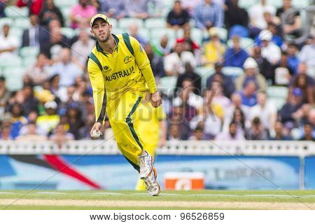 LONDON, ENGLAND - June 17 2013: Australia's Glenn Maxwell during the ICC Champions Trophy international cricket match between Sri Lanka and Australia.