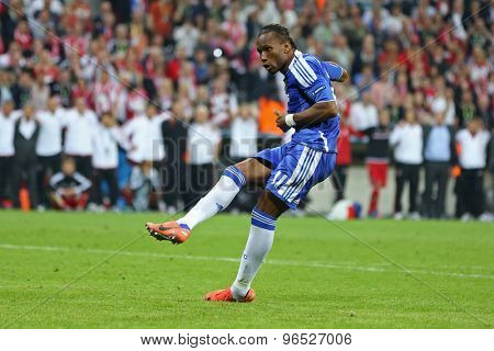 MUNICH, GERMANY May 19 2012.Chelsea's Ivory Coast forward Didier Drogba scores the winning penalty at the 2012 UEFA Champions League Final at the Allianz Arena Munichh