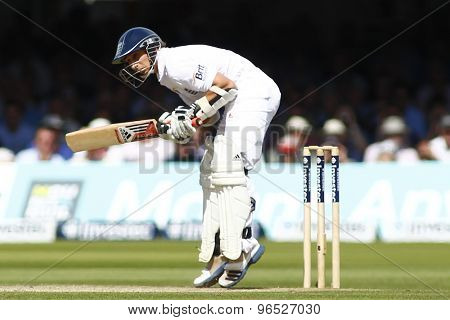 LONDON, ENGLAND. AUGUST 17 2012 England's James Taylor ducks a bouncer during the third Investec cricket  test match between England and South Africa, at Lords Cricket Ground