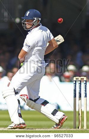LONDON, ENGLAND. AUGUST 17 2012 England's Jonny Bairstow avoids a bouncer during the third Investec cricket  test match between England and South Africa, at Lords Cricket Ground