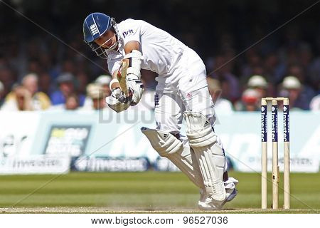 LONDON, ENGLAND. AUGUST 17 2012 England's James Taylor batting during the third Investec cricket  test match between England and South Africa, at Lords Cricket Ground