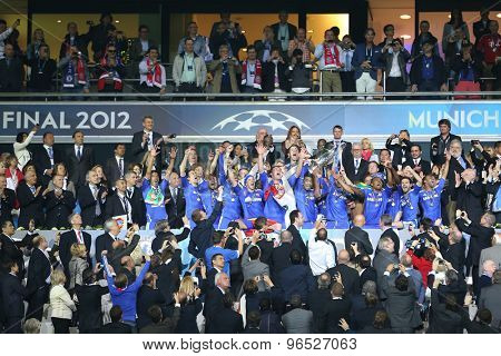 MUNICH, GERMANY May 19 2012. Chelsea players with the trophy for winning the 2012 UEFA Champions League Final at the Allianz Arena Munich contested by Chelsea and Bayern Munich