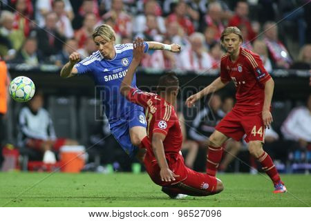 MUNICH, GERMANY May 19 2012. Chelsea's Spanish forward Fernando Torres and Bayern's German defender Jerome Boateng in action during the 2012 UEFA Champions League Final