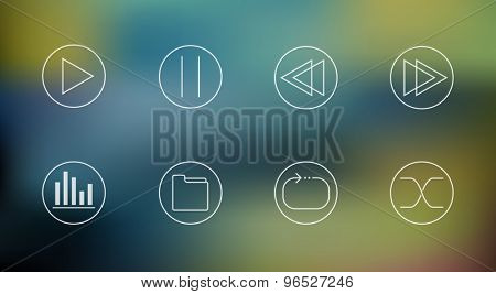 Vector set of music player icons on abstract mesh background, eps10