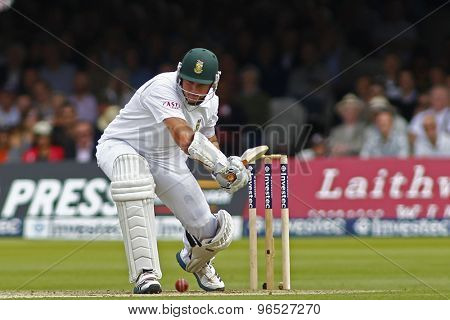 LONDON, ENGLAND. AUGUST 16 2012 South Africa's Graeme Smith is given out caught Prior bowled Anderson during the third Investec cricket  test match between England and South Africa,