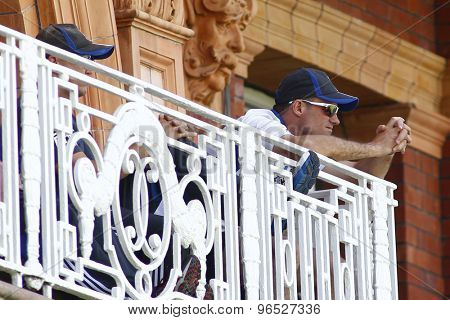 LONDON, ENGLAND. AUGUST 17 2012 England's Andrew Strauss watches his team from the England balcony during the third Investec cricket  test match between England and South Africa