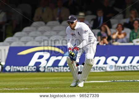 LONDON, ENGLAND. AUGUST 16 2012 England's Matt Prior  during the third Investec cricket  test match between England and South Africa, at Lords Cricket Ground
