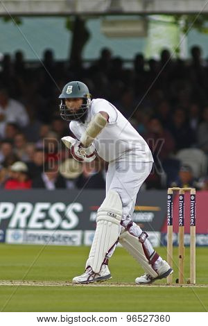 LONDON, ENGLAND. AUGUST 16 2012 South Africa's Hashim Amla batting during the third Investec cricket  test match between England and South Africa, at Lords Cricket Ground