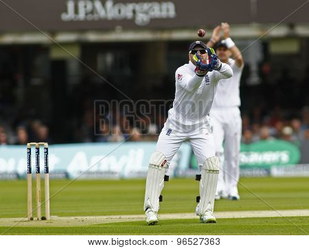 LONDON, ENGLAND. AUGUST 16 2012 England's Matt Prior catches the ball during the third Investec cricket  test match between England and South Africa, at Lords Cricket Ground