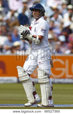 LONDON, ENGLAND. AUGUST 17 2012 England's James Taylor walks off after being dismissed during the third Investec cricket  test match between England and South Africa, at Lords Cricket Ground