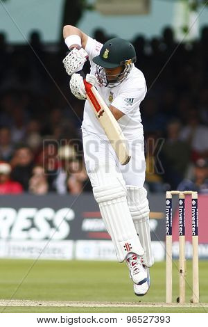 LONDON, ENGLAND. AUGUST 16 2012 South Africa's Jacques Rudolph batting during the third Investec cricket  test match between England and South Africa, at Lords Cricket Ground