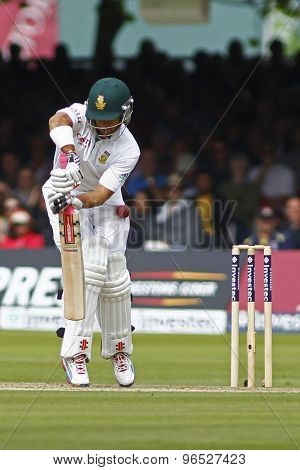 LONDON, ENGLAND. AUGUST 16 2012 South Africa's Jean-Paul Duminy gets hit on the thigh pad during the third Investec cricket  test match between England and South Africa, at Lords Cricket Ground