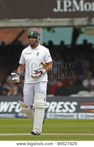 LONDON, ENGLAND. AUGUST 16 2012  South Africa's Jacques Kallis is given out on umpires review during the third Investec cricket  test match between England and South Africa, at Lords Cricket Ground