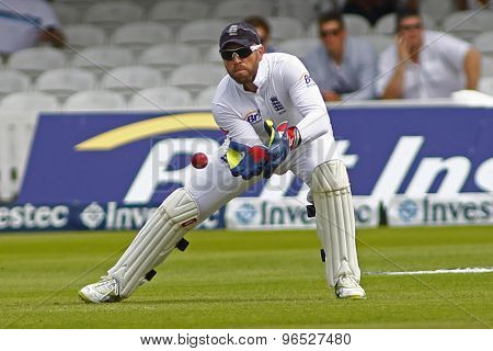 LONDON, ENGLAND. AUGUST 19 2012 England's Matt Prior watches the ball during the third Investec cricket  test match between England and South Africa, at Lords Cricket Ground