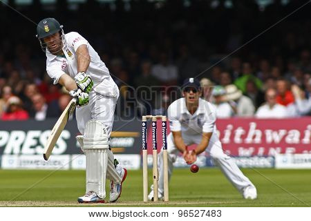 LONDON, ENGLAND. AUGUST 16 2012 South Africa's AB de Villiers batting during the third Investec cricket  test match between England and South Africa, at Lords Cricket Ground