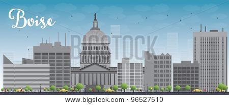 Boise Skyline with Grey Building and Blue Sky. Vector Illustration