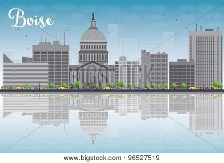 Boise Skyline with Grey Building, Blue Sky and reflections. Vector Illustration