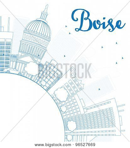 Outline Boise Skyline with Blue Building and copy space. Vector Illustration