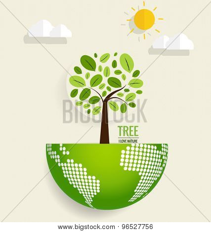 ECO FRIENDLY. Ecology concept with globe and tree background. Vector illustration.