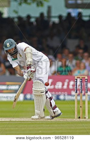 LONDON, ENGLAND. AUGUST 19 2012 South Africa's Hashim Amla during the third Investec cricket  test match between England and South Africa, at Lords Cricket Ground
