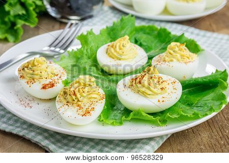 Spicy Deviled Eggs Sprinkled With Paprika